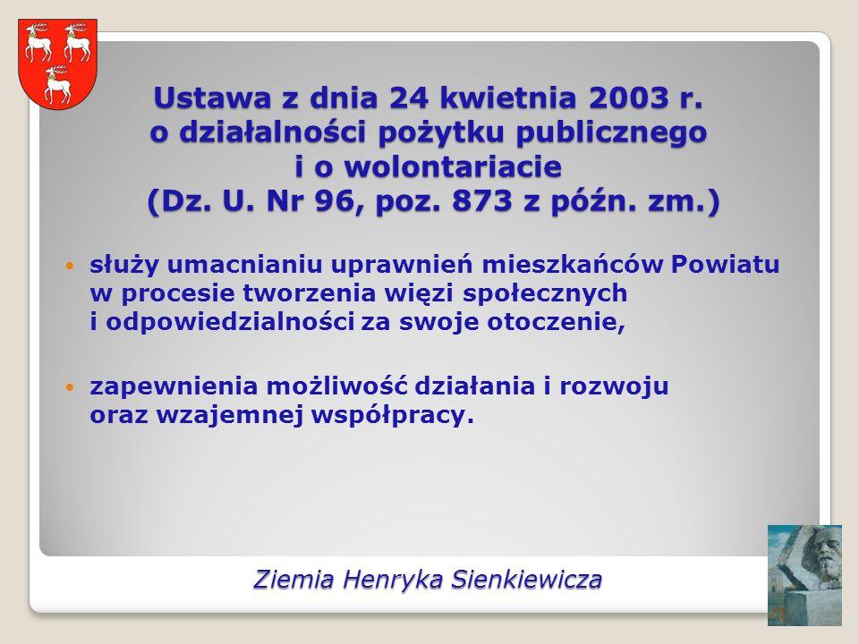 Ustawa z dnia 24 kwietnia 2003 r. o działalności pożytku publicznego i o wolontariacie (Dz.