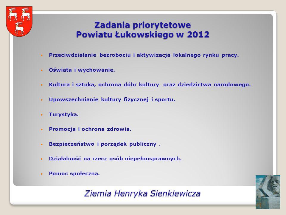 Zadania priorytetowe Powiatu Łukowskiego w 2012 Przeciwdziałanie bezrobociu i aktywizacja lokalnego rynku pracy.