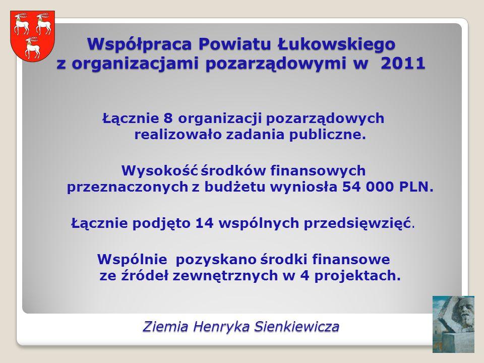 Współpraca Powiatu Łukowskiego z organizacjami pozarządowymi w 2011 Łącznie 8 organizacji pozarządowych realizowało zadania publiczne.