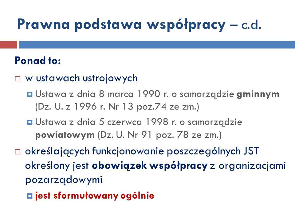 Prawna podstawa współpracy – c.d.Ponad to: w ustawach ustrojowych Ustawa z dnia 8 marca 1990 r.