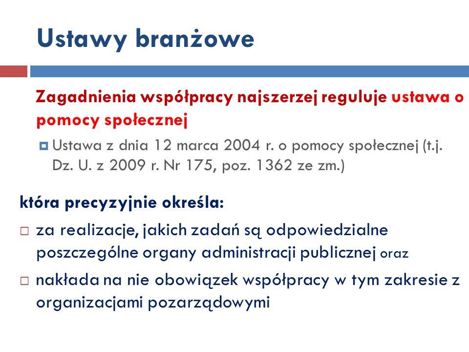 Zagadnienia współpracy najszerzej reguluje ustawa o pomocy społecznej Ustawa z dnia 12 marca 2004 r.
