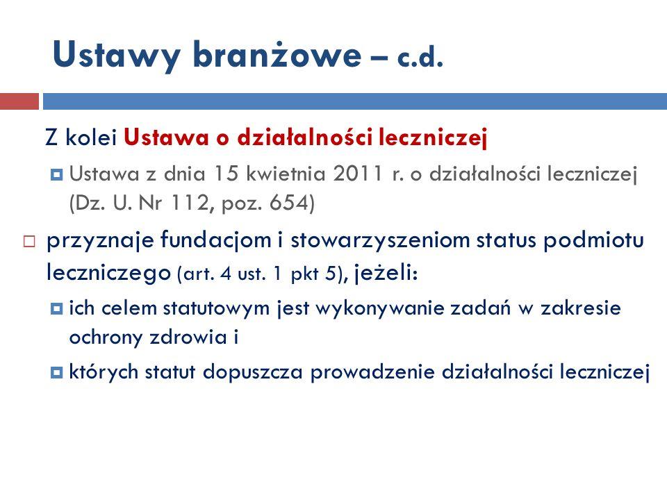 Ustawy branżowe – c.d.Z kolei Ustawa o działalności leczniczej Ustawa z dnia 15 kwietnia 2011 r.
