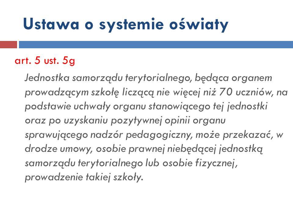 Ustawa o systemie oświaty art.5 ust.