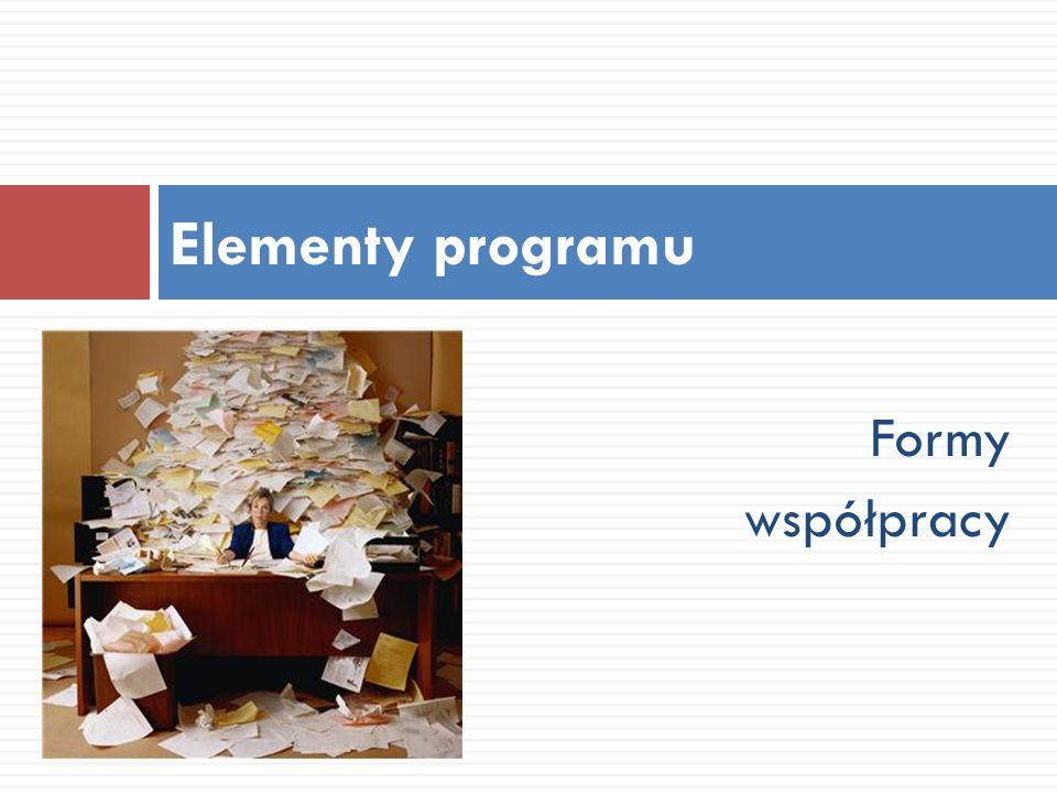 Formy współpracy Elementy programu