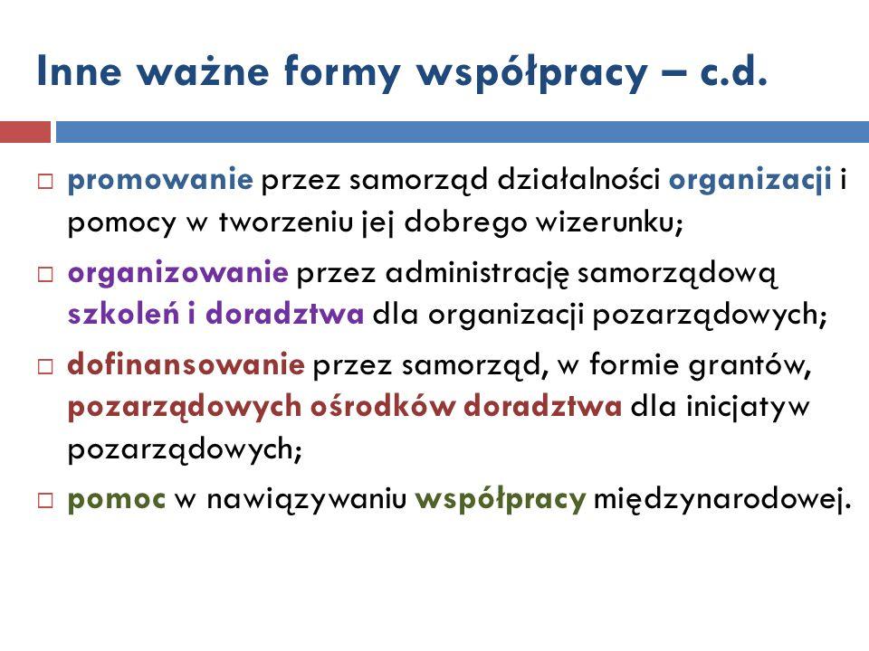 Inne ważne formy współpracy – c.d.