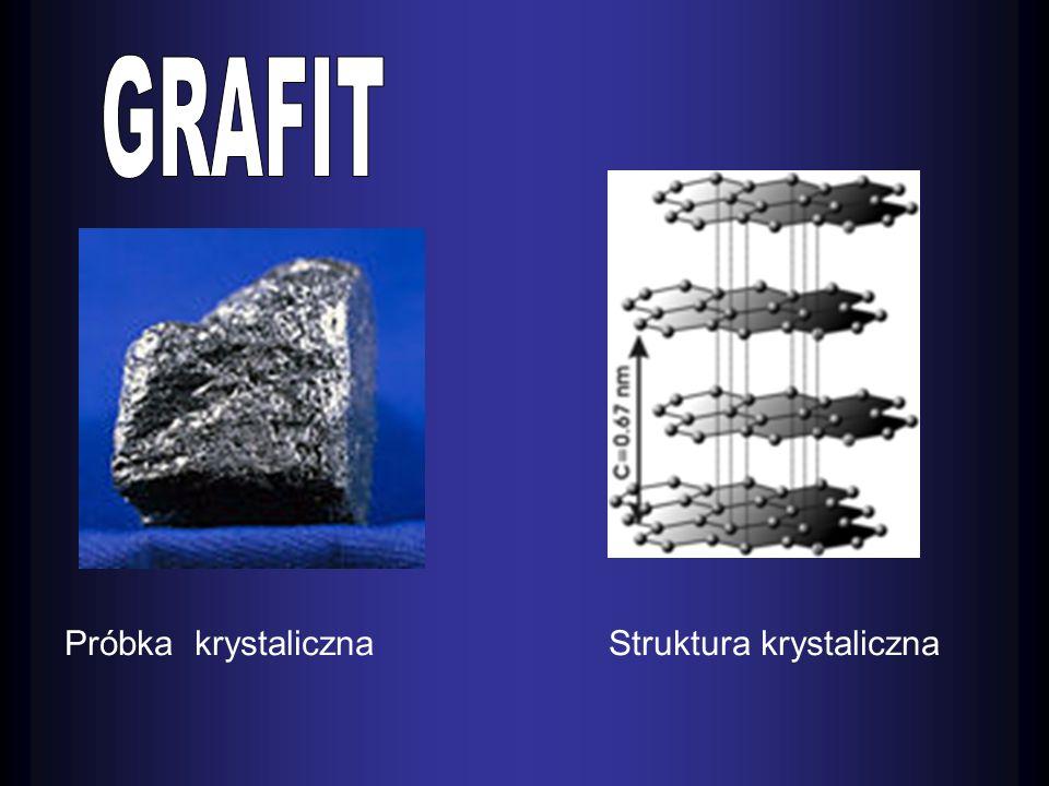 Właściwości grafitu : Fizyczne : Chemiczne : -substancja krystaliczna, ciemnoszara -- metaliczny połysk -- miękka i tłusta w dotyku -- daje się łatwo łupać w cienkie, blaszkowate łuski - - przewodzi prąd elektroniczny -- jest aktywniejszy od diamentu - siec przestrzenna grafitu składa się z równoległych warstw.