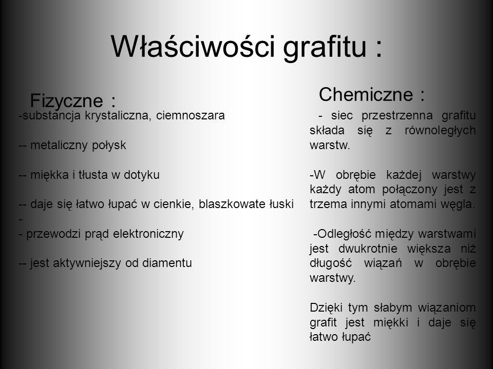 Właściwości grafitu : Fizyczne : Chemiczne : -substancja krystaliczna, ciemnoszara -- metaliczny połysk -- miękka i tłusta w dotyku -- daje się łatwo
