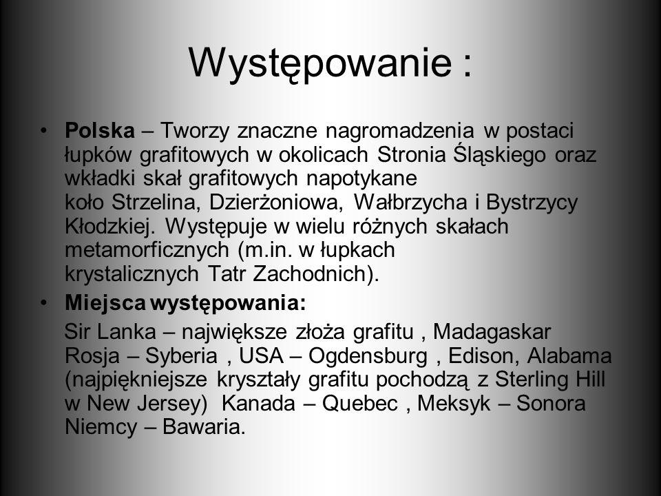 Występowanie : Polska – Tworzy znaczne nagromadzenia w postaci łupków grafitowych w okolicach Stronia Śląskiego oraz wkładki skał grafitowych napotyka