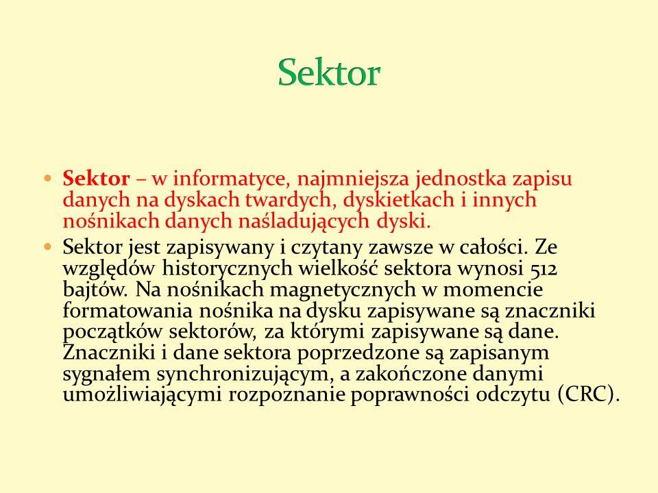 Klaster dyskowy - w niektórych systemach plików (np.