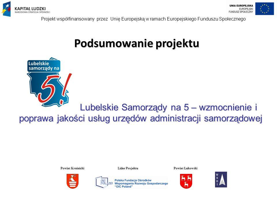 Projekt współfinansowany przez Unię Europejską w ramach Europejskiego Funduszu Społecznego STUDIA PODYPLOMOWE 45 Beneficjentów ukończyło dwusemestralne studia podyplomowe na wybranym przez siebie kierunku: Nadzór, audyt i kontrola w gospodarce i administracji – 13 osób Nowoczesne Zarządzanie Zasobami Ludzkimi – 12 osób Zarządzanie Nieruchomościami – 5 osób Bezpieczeństwo i higiena pracy – 3 osoby Rachunkowość i finanse przedsiębiorstw – 3 osoby Powiat KraśnickiLider ProjektuPowiat Łukowski