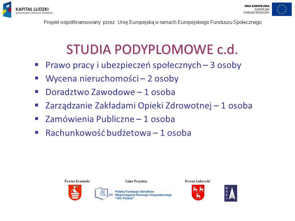 Projekt współfinansowany przez Unię Europejską w ramach Europejskiego Funduszu Społecznego STUDIA PODYPLOMOWE c.d. Prawo pracy i ubezpieczeń społeczny