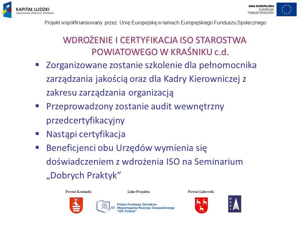 Projekt współfinansowany przez Unię Europejską w ramach Europejskiego Funduszu Społecznego WDROŻENIE I CERTYFIKACJA ISO STAROSTWA POWIATOWEGO W KRAŚNI