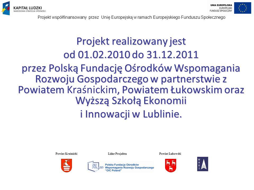 Projekt realizowany jest od 01.02.2010 do 31.12.2011 przez Polską Fundację Ośrodków Wspomagania Rozwoju Gospodarczego w partnerstwie z Powiatem, Powia