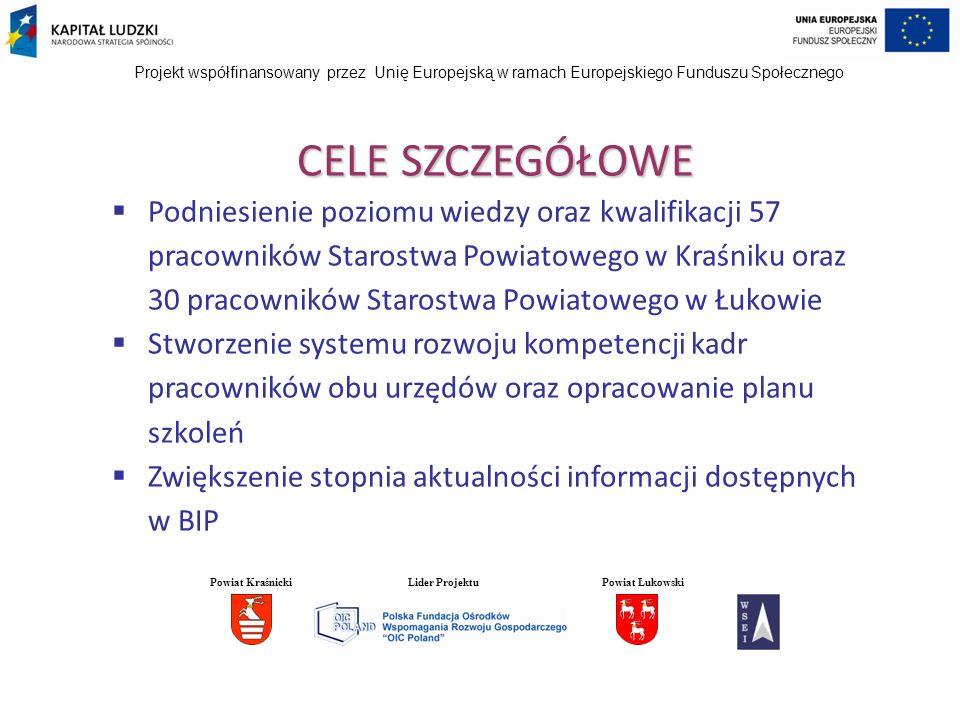 CELE SZCZEGÓŁOWE Podniesienie poziomu wiedzy oraz kwalifikacji 57 pracowników Starostwa Powiatowego w Kraśniku oraz 30 pracowników Starostwa Powiatowe