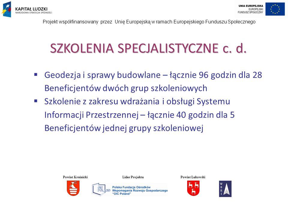 Projekt współfinansowany przez Unię Europejską w ramach Europejskiego Funduszu Społecznego SZKOLENIA INTERPERSONALNE Łącznie zrealizowano 480 godzin szkoleń interpersonalnych: Budowanie i kreowanie własnego wizerunku – łącznie 48 godzin dla 20 Beneficjentów kadry wyższego szczebla (2 grupy szkoleniowe) Zorientowanie na obsługę klienta – łącznie 192 godziny dla 87 Beneficjentów sześciu grup szkoleniowych Powiat KraśnickiLider ProjektuPowiat Łukowski