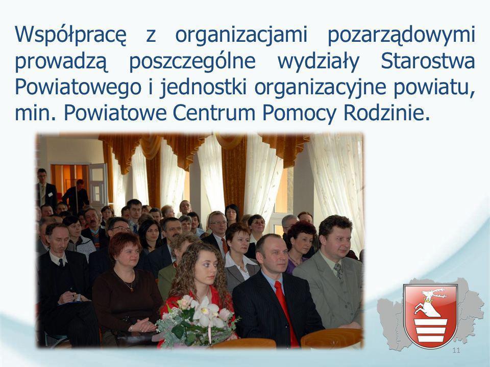 Współpracę z organizacjami pozarządowymi prowadzą poszczególne wydziały Starostwa Powiatowego i jednostki organizacyjne powiatu, min. Powiatowe Centru
