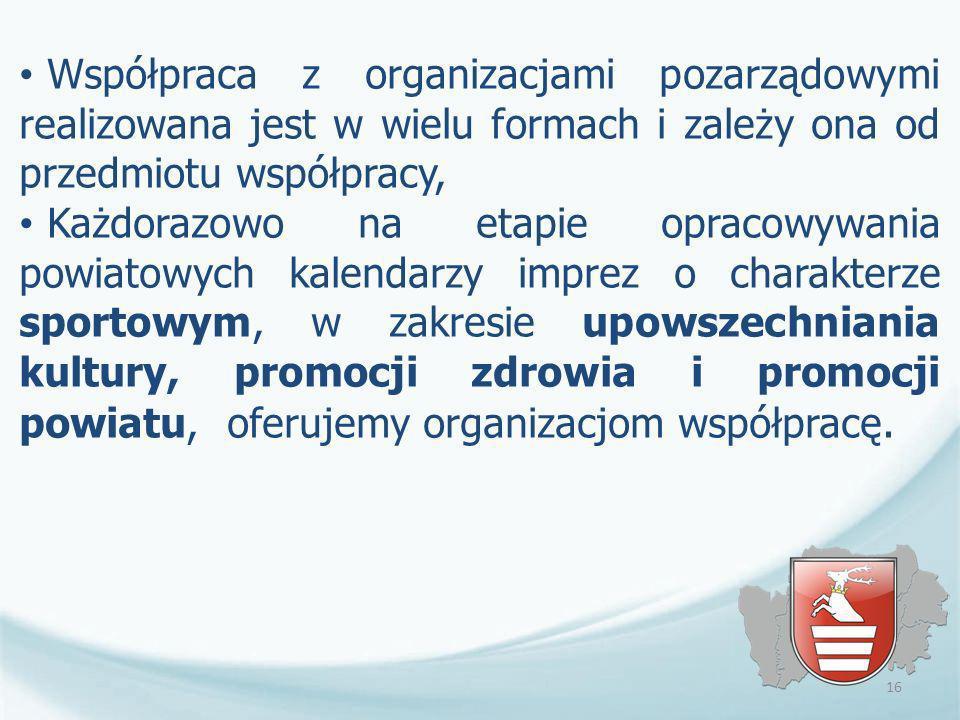Współpraca z organizacjami pozarządowymi realizowana jest w wielu formach i zależy ona od przedmiotu współpracy, Każdorazowo na etapie opracowywania p