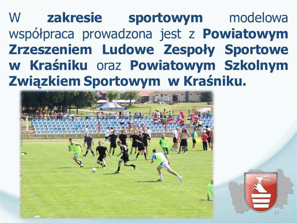 W zakresie sportowym modelowa współpraca prowadzona jest z Powiatowym Zrzeszeniem Ludowe Zespoły Sportowe w Kraśniku oraz Powiatowym Szkolnym Związkie