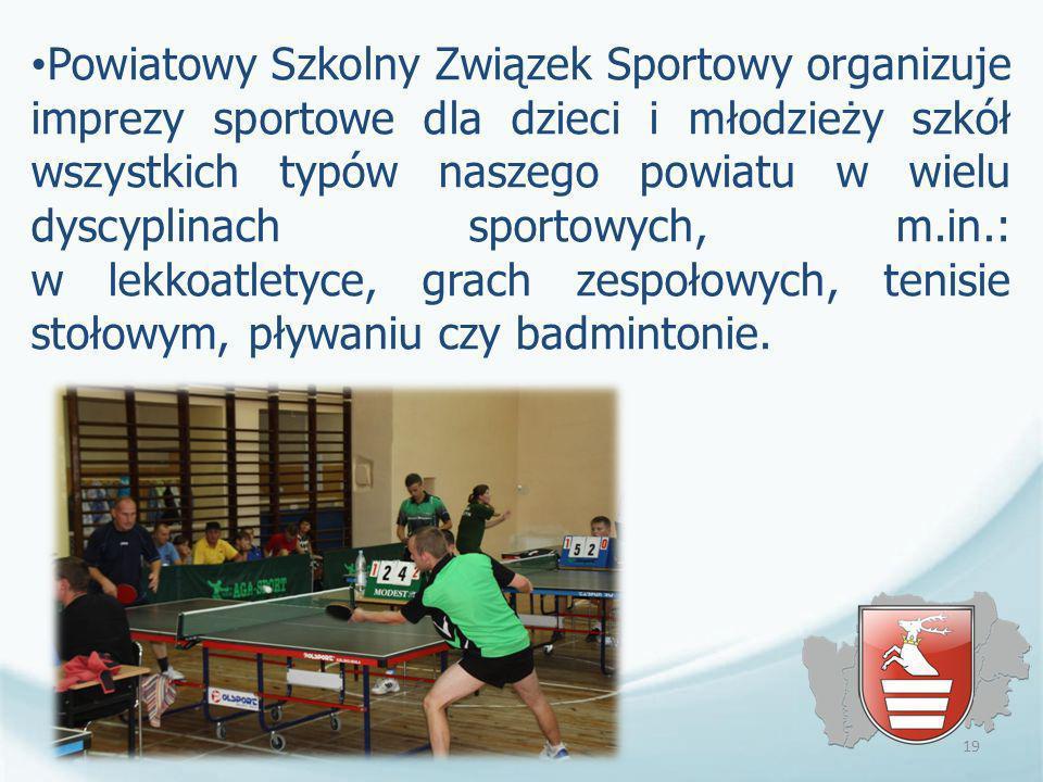 Powiatowy Szkolny Związek Sportowy organizuje imprezy sportowe dla dzieci i młodzieży szkół wszystkich typów naszego powiatu w wielu dyscyplinach spor