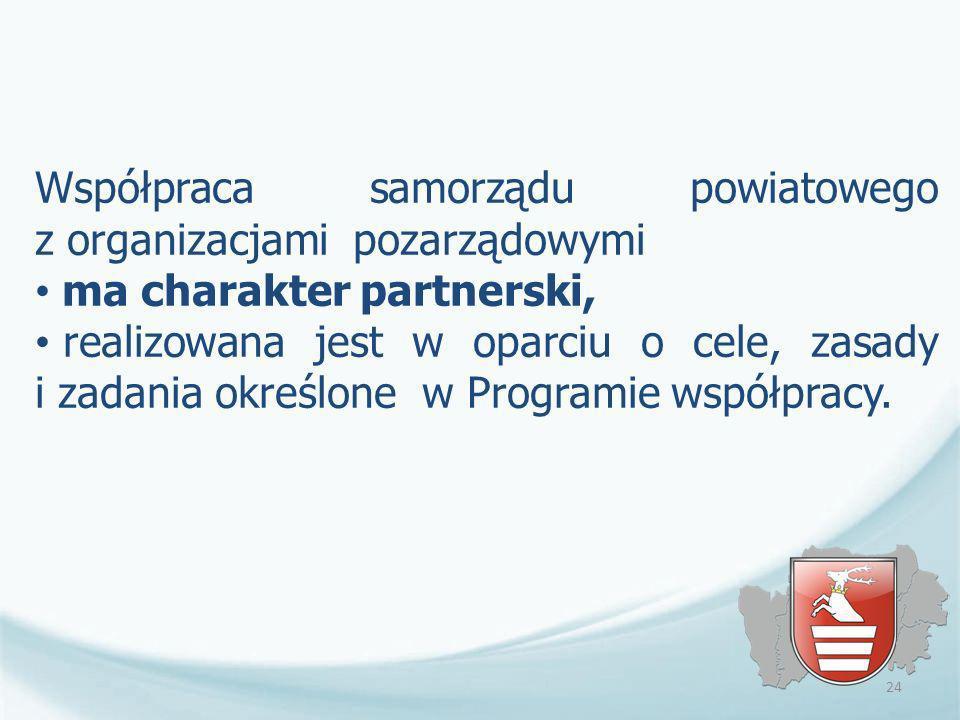 Współpraca samorządu powiatowego z organizacjami pozarządowymi ma charakter partnerski, realizowana jest w oparciu o cele, zasady i zadania określone