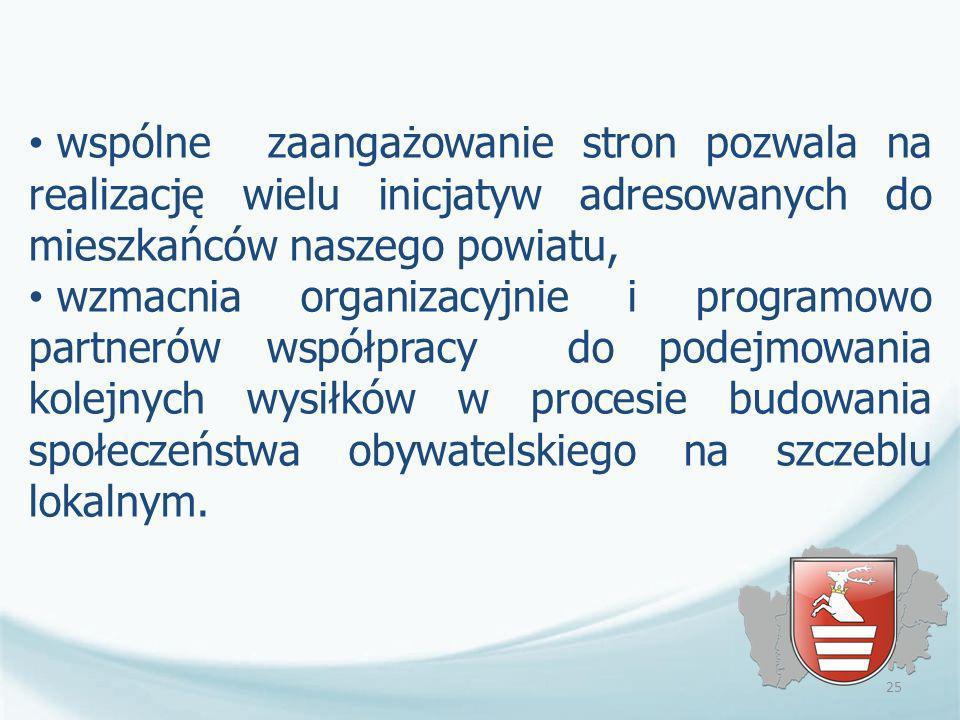 wspólne zaangażowanie stron pozwala na realizację wielu inicjatyw adresowanych do mieszkańców naszego powiatu, wzmacnia organizacyjnie i programowo pa
