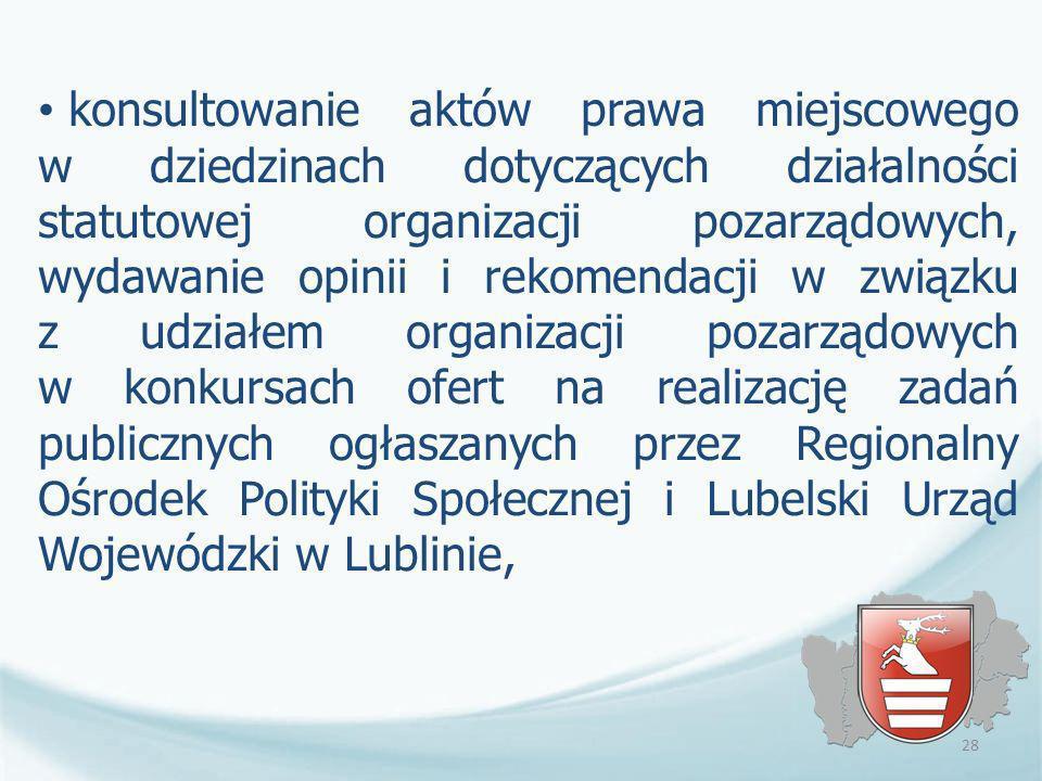 konsultowanie aktów prawa miejscowego w dziedzinach dotyczących działalności statutowej organizacji pozarządowych, wydawanie opinii i rekomendacji w z
