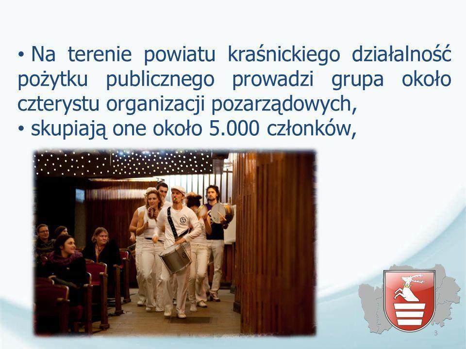 Na terenie powiatu kraśnickiego działalność pożytku publicznego prowadzi grupa około czterystu organizacji pozarządowych, skupiają one około 5.000 czł
