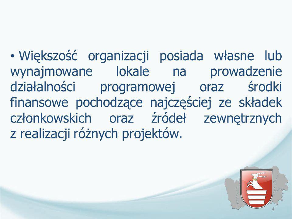 Większość organizacji posiada własne lub wynajmowane lokale na prowadzenie działalności programowej oraz środki finansowe pochodzące najczęściej ze sk