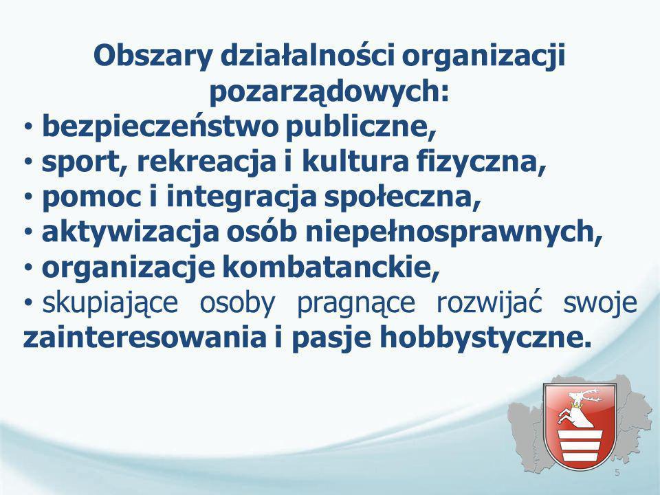 Obszary działalności organizacji pozarządowych: bezpieczeństwo publiczne, sport, rekreacja i kultura fizyczna, pomoc i integracja społeczna, aktywizac