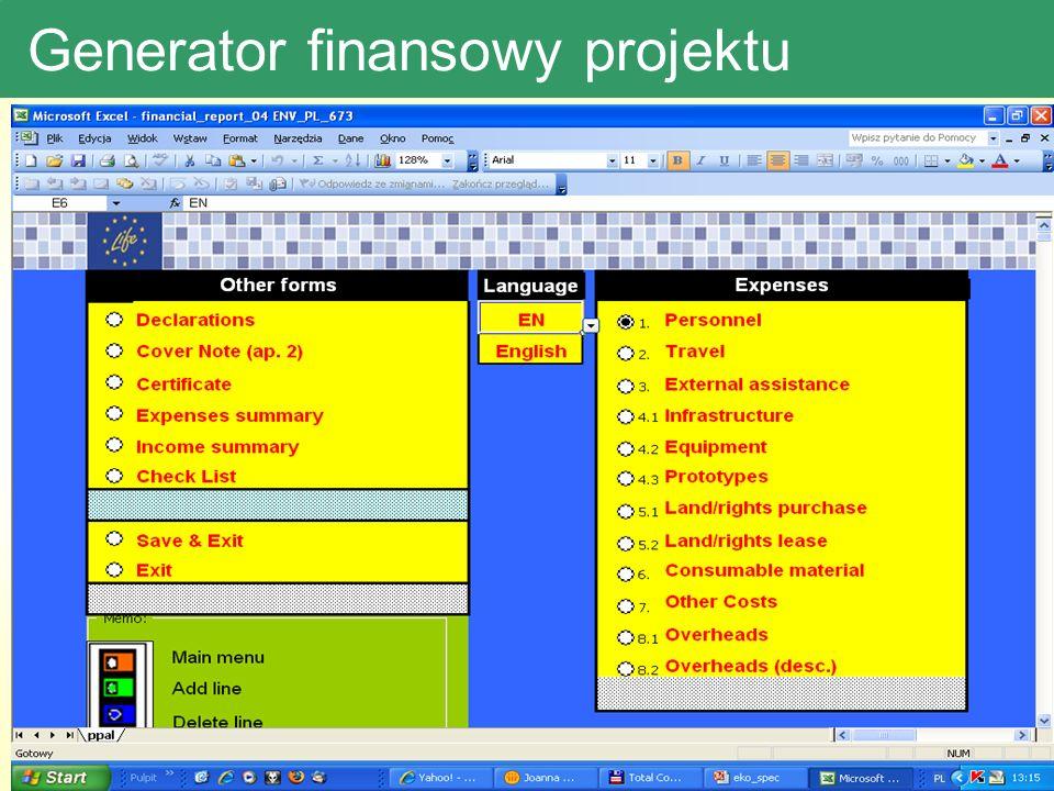 Generator finansowy projektu Generator wydatków –pokazać str startowa-koszty osobowe, overheady, podróże jako przykład Problemy: Wkład własny-50%, Zmiany kursu Eur (2003-4,7; 2007-3,8)