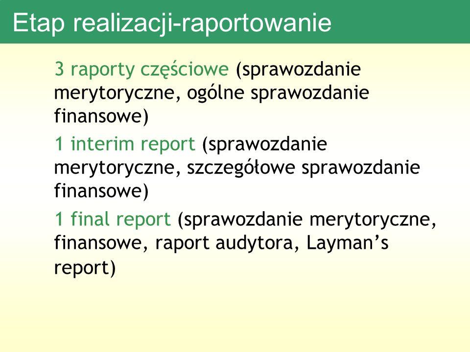 Etap realizacji-raportowanie 3 raporty częściowe (sprawozdanie merytoryczne, ogólne sprawozdanie finansowe) 1 interim report (sprawozdanie merytoryczne, szczegółowe sprawozdanie finansowe) 1 final report (sprawozdanie merytoryczne, finansowe, raport audytora, Laymans report)