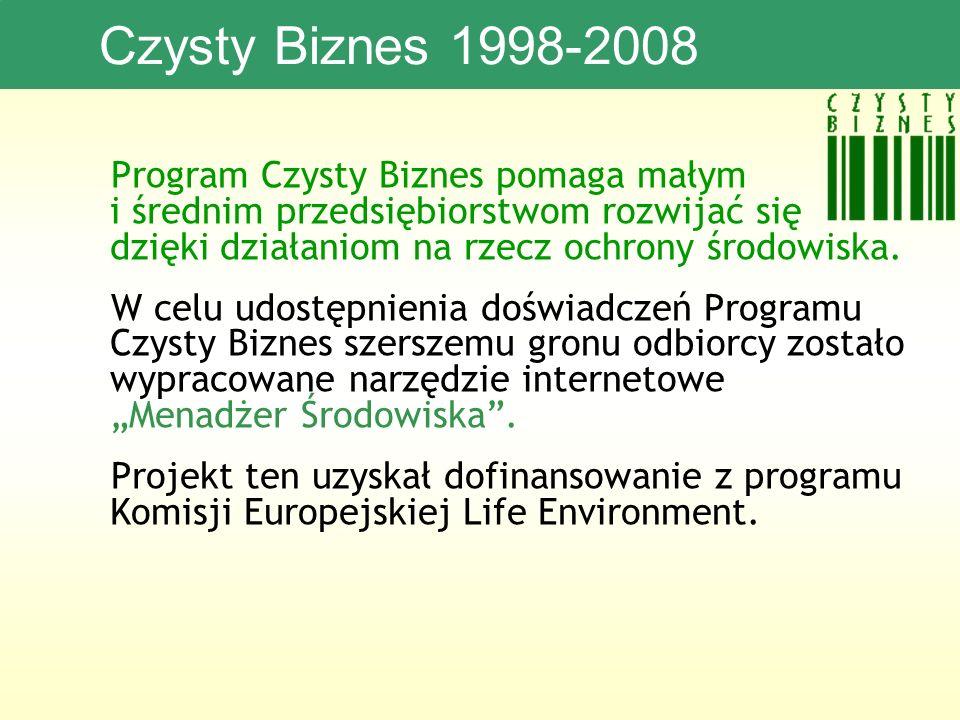 Czysty Biznes 1998-2008 Program Czysty Biznes pomaga małym i średnim przedsiębiorstwom rozwijać się dzięki działaniom na rzecz ochrony środowiska.