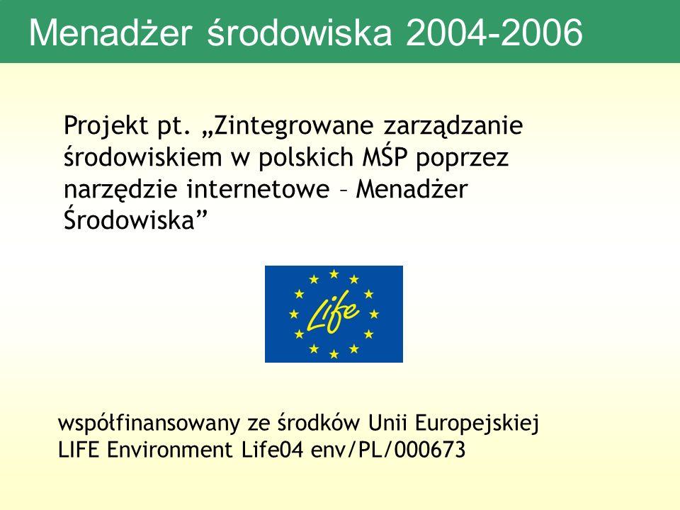Menadżer środowiska 2004-2006 Projekt pt.