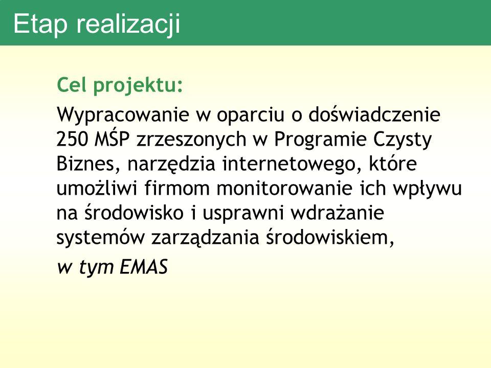 Etap realizacji Cel projektu: Wypracowanie w oparciu o doświadczenie 250 MŚP zrzeszonych w Programie Czysty Biznes, narzędzia internetowego, które umożliwi firmom monitorowanie ich wpływu na środowisko i usprawni wdrażanie systemów zarządzania środowiskiem, w tym EMAS