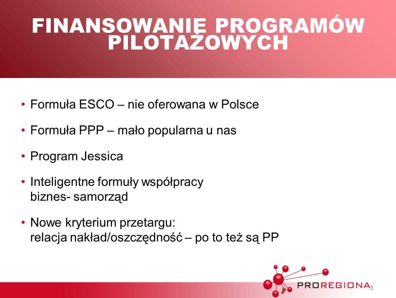 3 FINANSOWANIE PROGRAMÓW PILOTAŻOWYCH Formuła ESCO – nie oferowana w Polsce Formuła PPP – mało popularna u nas Program Jessica Inteligentne formuły ws