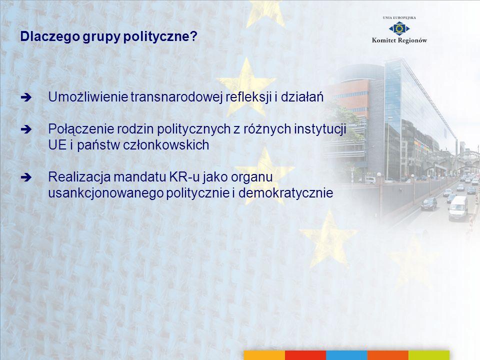 Dlaczego grupy polityczne? Umożliwienie transnarodowej refleksji i działań Połączenie rodzin politycznych z różnych instytucji UE i państw członkowski