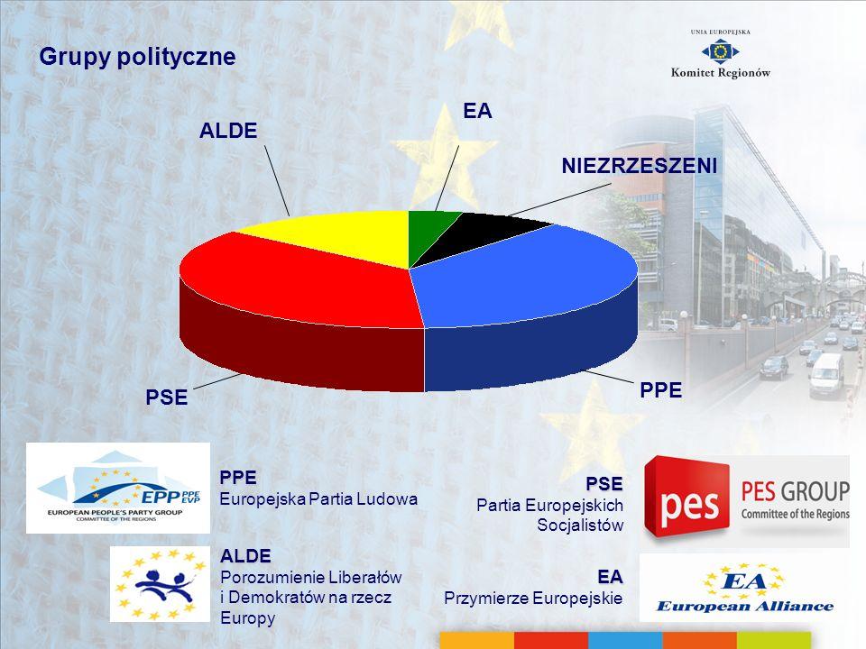 Grupy polityczne PSE Partia Europejskich Socjalistów EA Przymierze Europejskie PPE Europejska Partia Ludowa ALDE Porozumienie Liberałów i Demokratów n