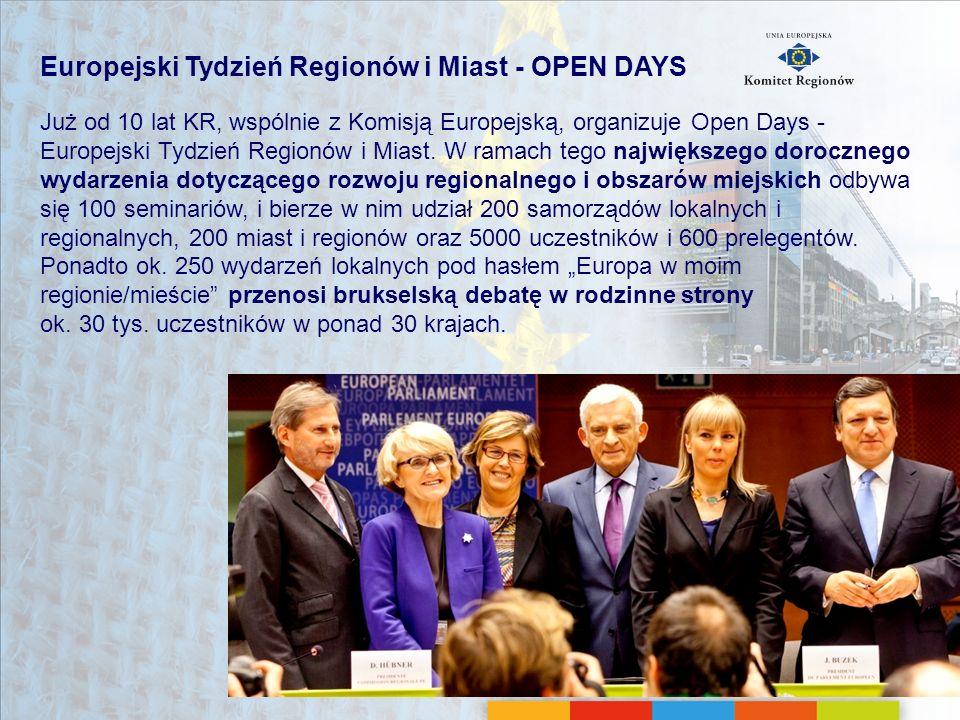 Europejski Tydzień Regionów i Miast - OPEN DAYS Już od 10 lat KR, wspólnie z Komisją Europejską, organizuje Open Days - Europejski Tydzień Regionów i