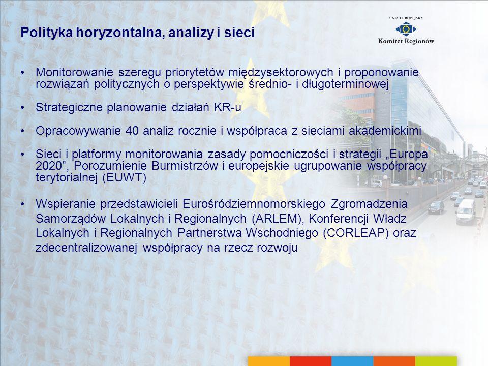 Polityka horyzontalna, analizy i sieci Monitorowanie szeregu priorytetów międzysektorowych i proponowanie rozwiązań politycznych o perspektywie średni