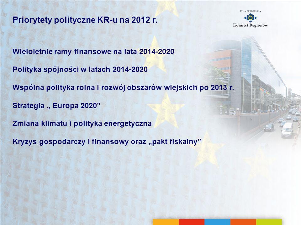 Priorytety polityczne KR-u na 2012 r. Wieloletnie ramy finansowe na lata 2014-2020 Polityka spójności w latach 2014-2020 Wspólna polityka rolna i rozw