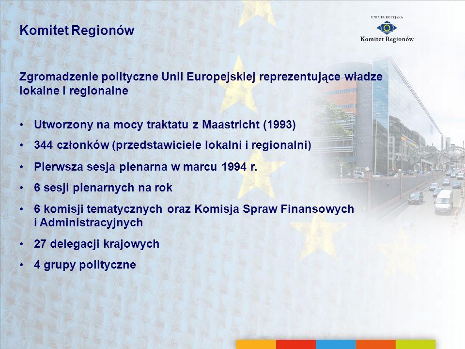 Najważniejsze daty 1993 1993Traktat z Maastricht: utworzenie KR-u 1994 1994Pierwsza sesja plenarna w Brukseli 1995 1995Zwiększenie liczby członków KR-u ze 189 do 222 (po rozszerzeniu UE z 12 do 15 państw) 1997 1997Traktat z Amsterdamu: umocnienie roli KR-u (rozszerzenie zakresu konsultacji obowiązkowej oraz funkcja doradcza wobec Parlamentu Europejskiego) 2003 2003Traktat z Nicei: członkowie KR-u muszą posiadać mandat wyborczy lub być odpowiedzialni politycznie 2004 2004Zwiększenie liczby członków KR-u z 222 do 317 (po rozszerzeniu UE na 25 państw) 2007 2007Zwiększenie liczby członków KR-u z 317 do 344 (po rozszerzeniu UE na 27 państw) 2009 2009Traktat z Lizbony wzmacnia status i rolę polityczną KR-u