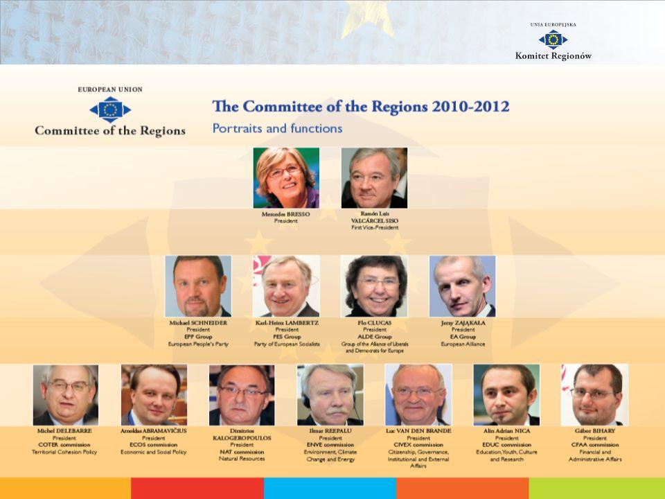 Organizacja Komitetu Regionów Przewodniczący Sekretarz Generalny Gabinet Sekretarza Generalnego Komisje EDUC i CIVEX Komisje ECOS i COTER Komisje NAT i ENVE Koordynacja, Monitorowanie itd.