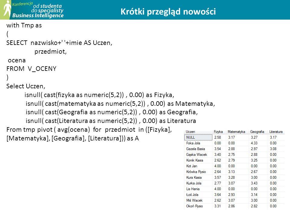 13 Krótki przegląd nowości with Tmp as ( SELECT nazwisko+ +imie AS Uczen, przedmiot, ocena FROM V_OCENY ) Select Uczen, isnull( cast(fizyka as numeric(5,2)), 0.00) as Fizyka, isnull( cast(matematyka as numeric(5,2)), 0.00) as Matematyka, isnull( cast(Geografia as numeric(5,2)), 0.00) as Geografia, isnull( cast(Literatura as numeric(5,2)), 0.00) as Literatura From tmp pivot ( avg(ocena) for przedmiot in ([Fizyka], [Matematyka], [Geografia], [Literatura])) as A