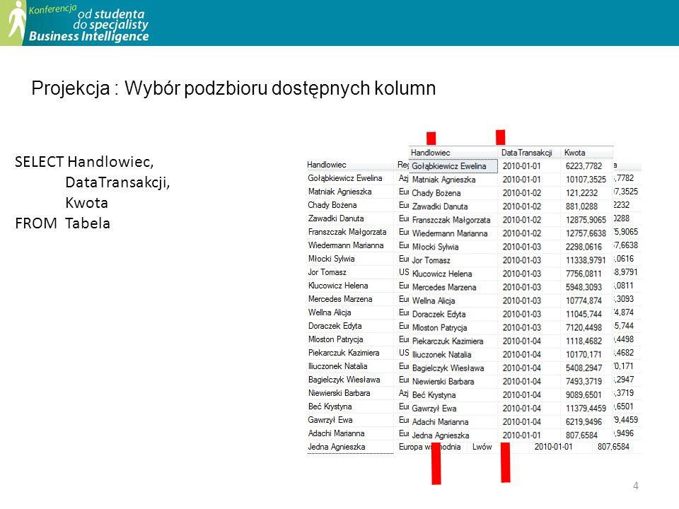 25 With tmp as ( SELECT*, Month(dataTransakcji) as Miesiac, YEAR(DAtaTransakcji) as Rok from vtransakcje ) Select *, SUM(kwota) over (Partition By Handlowiec,Rok) as RocznaSprzedaz, SUM(Kwota) over (Partition By HAndlowiec,Rok Order By miesiac Rows between unbounded preceding and current row) as OdPoczRoku From tmp