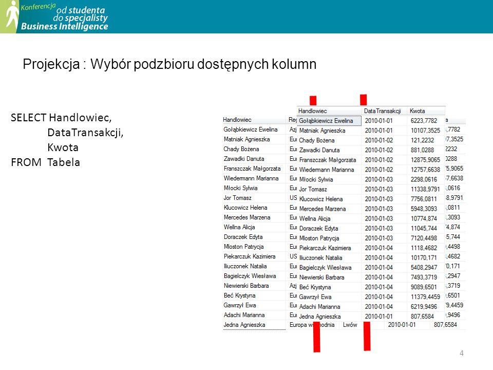 Projekcja : Wybór podzbioru dostępnych kolumn SELECT Handlowiec, DataTransakcji, Kwota FROM Tabela 4
