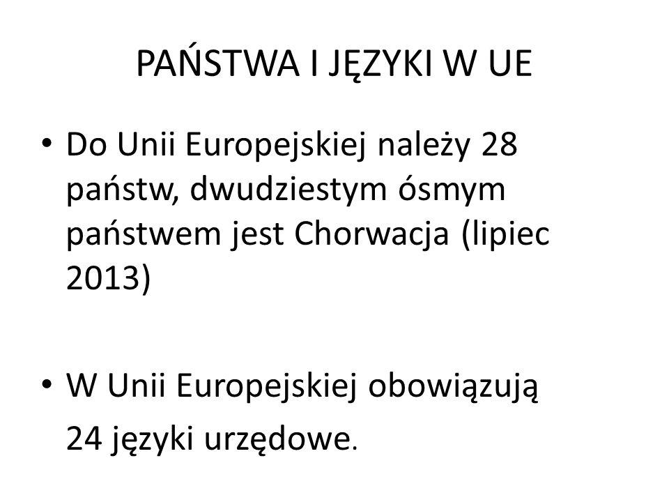 PAŃSTWA I JĘZYKI W UE Do Unii Europejskiej należy 28 państw, dwudziestym ósmym państwem jest Chorwacja (lipiec 2013) W Unii Europejskiej obowiązują 24 języki urzędowe.