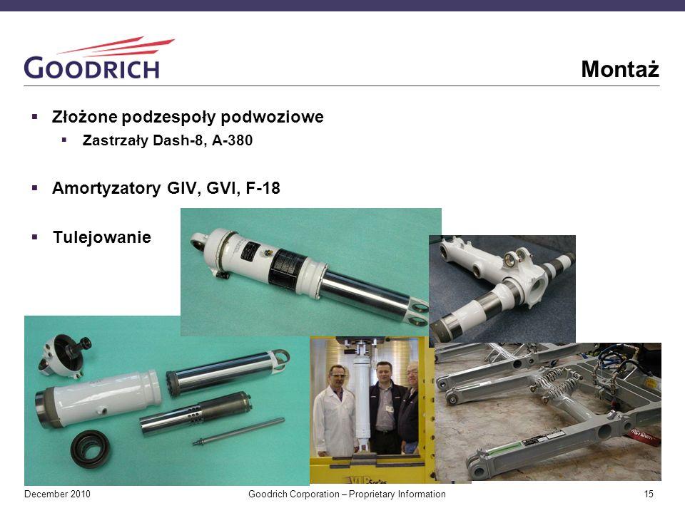 December 2010 Goodrich Corporation – Proprietary Information 15 Montaż Złożone podzespoły podwoziowe Zastrzały Dash-8, A-380 Amortyzatory GIV, GVI, F-18 Tulejowanie