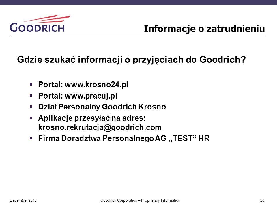 December 2010 Goodrich Corporation – Proprietary Information 20 Informacje o zatrudnieniu Gdzie szukać informacji o przyjęciach do Goodrich.