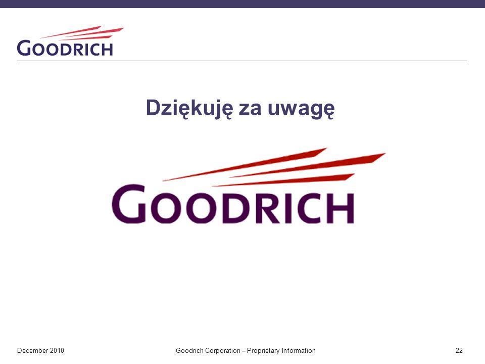 December 2010 Goodrich Corporation – Proprietary Information 22 Dziękuję za uwagę