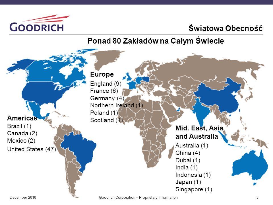 December 2010 Goodrich Corporation – Proprietary Information 3 Światowa Obecność Ponad 80 Zakładów na Całym Świecie Europe England (9) France (6) Germany (4) Northern Ireland (1) Poland (1) Scotland (1) Americas Brazil (1) Canada (2) Mexico (2) United States (47) Mid.